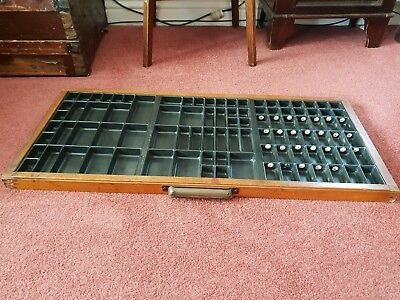 Vintage Joyce Print Tray Letterpress Draw 95 Compartment Brass Scoop Pull Handle