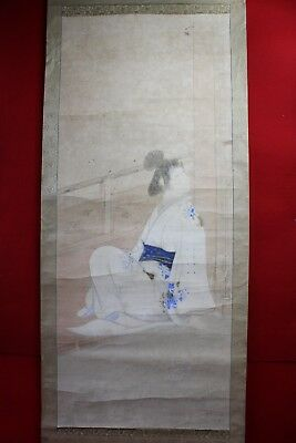"Antique Japanese hanging scroll ""Kimono beauty "" on paper  o06"