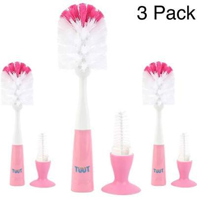 3 Count Baby Bottle Brush & Nipple Cleaner with Suction Cup - Sleek Design (Pink