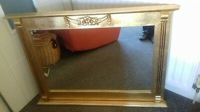 Morris Of Glasgow Over Mantle Mirror Gold Hand Leafed Large