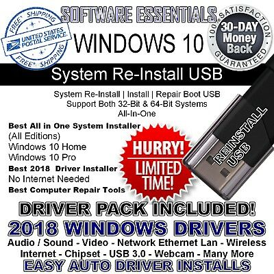 USB 32GB & DVD/USB Win 10 All Ver 32 & 64 bit Reinstall WITH DRIVERS INCLUDED