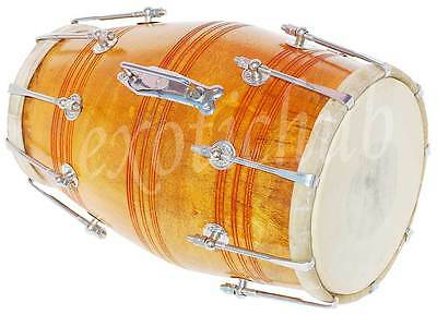 Dholak Drum~Bolt Tuned~Mango Wood~Dholaki~Hand Made Indian~Gig Bag, Tuning Key