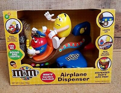 M&M's Airplane Dispenser Collectible Brand New Sealed Lights And Sounds RARE