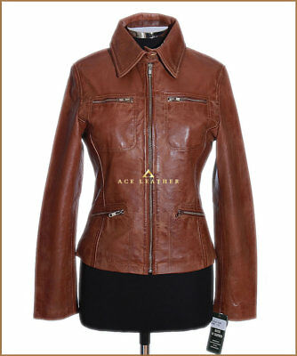Ladies Leather Shirt Jacket Tan Waxed Real Soft Leather Classic Summer Jacket