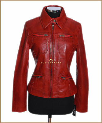 Ladies Leather Shirt Jacket Red Waxed Real Soft Leather Classic Summer Jacket