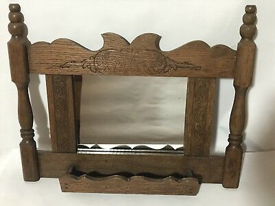 VINTAGE WOODEN SHAVING MIRROR MEN'S ANTIQUE ENGRAVED With TRAY RARE!