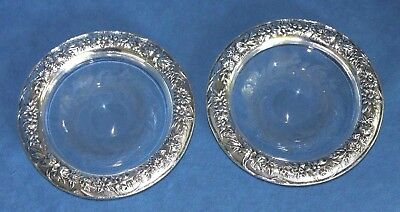 PAIR Of Antique KIRK & SON Sterling Silver REPOUSSE Hawkes Crystal Shallow Bowls