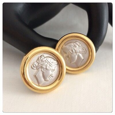 Vintage Signed Monet Ancient Roman Caesar Cameo Profile Portrait Clip Earrings
