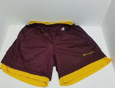Vintage Champion Reversible Shorts Yellow/Maroon L 36-38 Made in USA