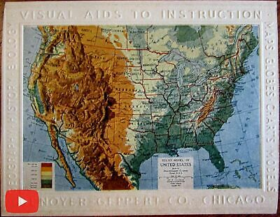 Cartographic curiosity 1911 Relief map Denoyer-Geppert promo card