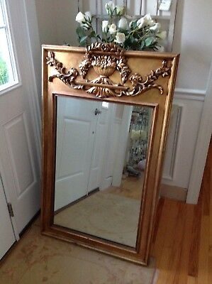 Large vtg Antique FRENCH PROVINCIAL Gold Wall Mantle TRUMEAU MIRROR shabby