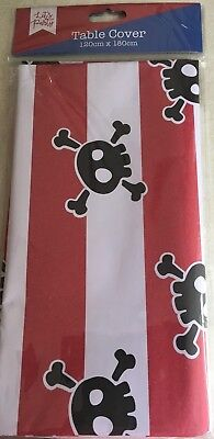 PIRATE WHITE/RED/BLACK SKULL  PAPER TABLE CLOTH COVER CHILDS PARTY 120x180 CM