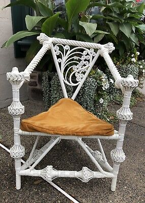 Rare  Ornate Antique Triangular Shaped Victorian Era Wicker Chair