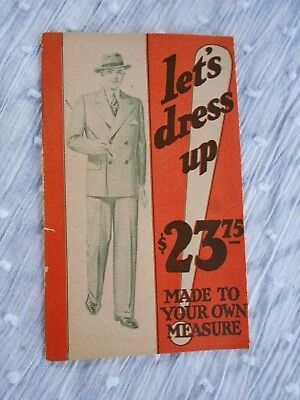Vintage Advertising Men's Wool Suits 1920's Fairbanks Tailoring, Chicago