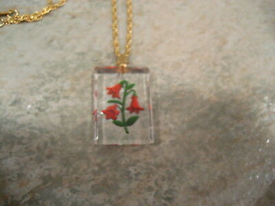 Red Flowers vintage intaglio reverse carved & painted necklace