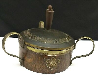 Antique Wood and Silver Over Brass Butter Dish