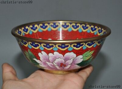 Chinese dynasty palace bronze Cloisonne Enamel peony flower statue Tea Cup Bowl