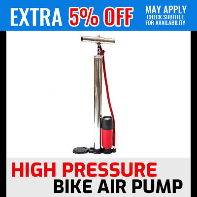 Portable High Pressure Bike Bicycle Floor Air Pump With Gauge Monitor Ball Tool