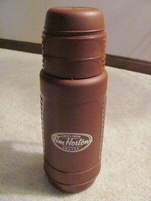 Vintage Tim Hortons Tall One Liter Thermos With Two Cups - Coffee