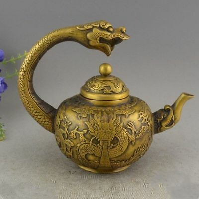 Old Chinese Brass hand-carved Lucky DRAGON STATUE teapot