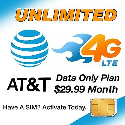 AT&T Unlimited 4G LTE Data 29.99mo Sim Card & Plan SetUp - HotSpot Tablet Phones