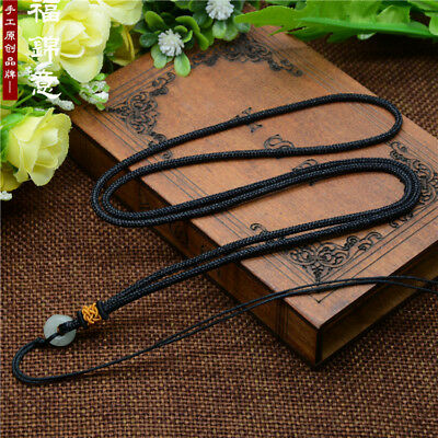 1Pcs Natural JADE beads Black Circle string cord rope for pendant Necklace A216