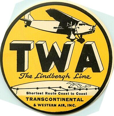 Transcontinental & Western Air ~TWA AIRLINE / LINDBERGH Line~ Luggage Label 1929