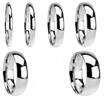 NEW Plain Wedding Band Ring 316L Stainless Steel All Sizes Classic For Men Women