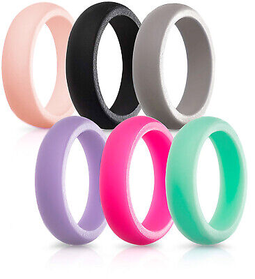 Silicone Ring Womens 6 PACK Wedding Rubber Band Engagement Stackable Comfortable