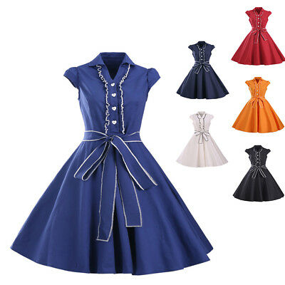 Summer Vintage bow-knot Women Pinup Housewife 50s 60s Solid Color Swing Dress