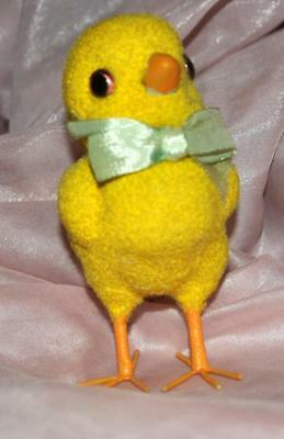 Vtg Wire Leg Flocked Glass Eyes Easter Chick,  Meito China, Norleans Brand