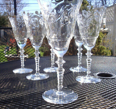 Vintage Wine Glasses Set of 6 Crystal Hand Cut Christmas Tree Etched Optic Glass