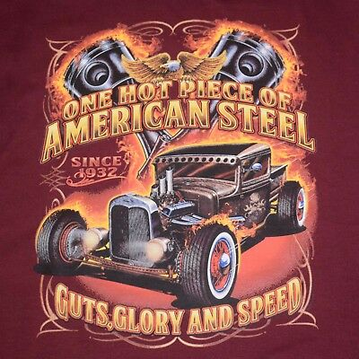 dd98b0b992d Hot Rod T Shirt Rat Rod Vintage Ford Truck Flames Mens Sizes S to 6XL and
