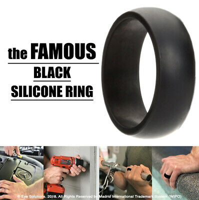 Silicone Ring Mens BLACK Wedding Rubber Band Hypoallergenic Flexible Comfortable