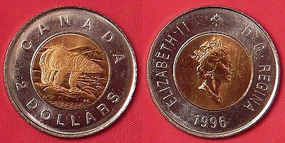 Brilliant Uncirculated 1996 Canada 2 Dollars From Mint's Roll