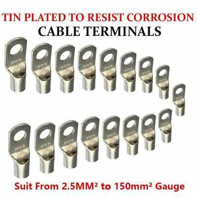 Battery Copper Cable Lugs Crimp Terminals Ring Hole Stud Various Size For Choose