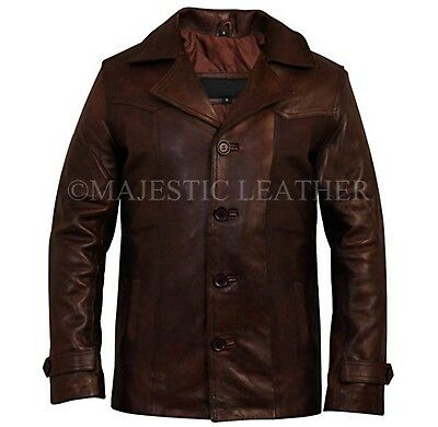 Men's Real Antique Vintage Brown Leather Jacket Coat