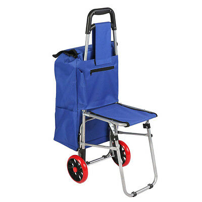 Foldable Rolling Shopping Cart Multi Function Trolley with Seat Carry Bag