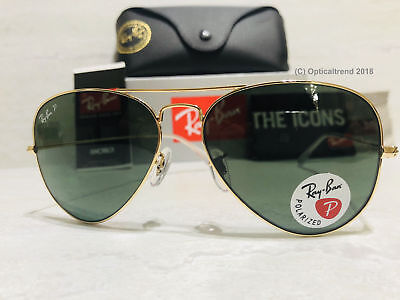 36054932697 New Authentic Ray Ban Aviator Rb3025 001 58 58Mm Polarized Green Lens Gold  Frame