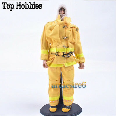 1/6 Firefighter Yellow Fireman Helmets Gas Masks Clothing & Equipment+Body Suit