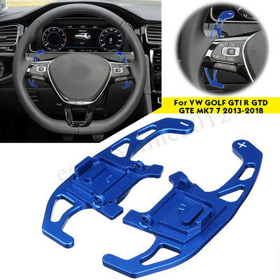 For VW GOLF GTI R GTD GTE MK7 13-18 2X Blue Steering Wheel Shift Paddles Shifter