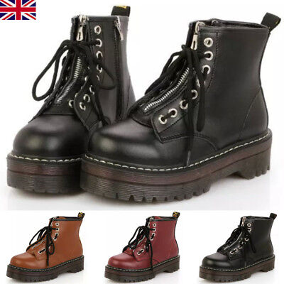 e1ef75ddff6 Womens Ladies Zip Creepers Chunky Cleated Platform Goth Punk Ankle Boots  Shoes Q
