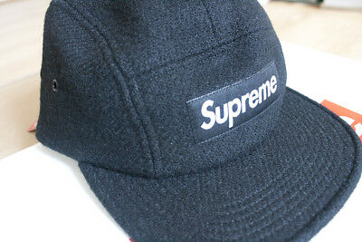 6103a9b3414 Supreme Featherweight Black Wool 5 Panel Camp Hat Cap FW17 BNWT One Size