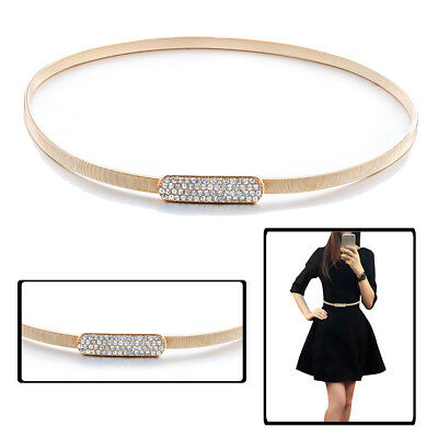 Metal Rose Gold Elegant Stretchable Adjustable Ladies Waist Belt Diamante Buckle