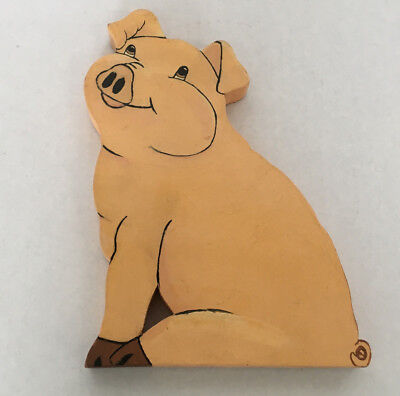 vintage hand crafted folk art painted  wood pig shelve sitter country decor