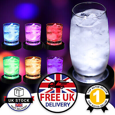 2/4 LED Light Up Colour Changing Drinks Coasters Place Mat Drink Wine Glass UK