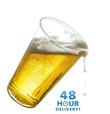 Clear Strong Plastic Pint / Half 1/2 Disposable Beer Glasses Cups Tumblers