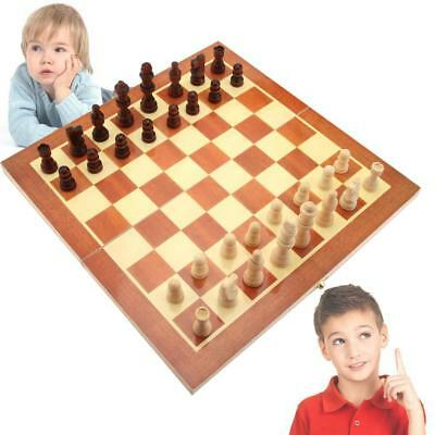Wooden Pieces Chess Set Folding Board Box Wood Hand Carved Gift Kids Toy 2017 FW