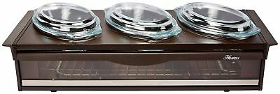 Buffet Server Food Tray Dish Warmer Stainless Steel Neon On and Off Light Brown