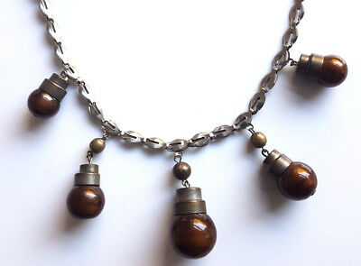 Vintage Art Deco Machine Age Jakob Bengel Chrome Brown Glass Necklace